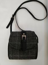 Harris Tweed Small Shoulder Bag Black Gray Tartan  Handwoven by Glen Appin