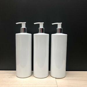 3 x Reuse Dispenser Pump Bottle Plastic Customisable Personalise White PET