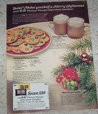 1977 print ad pg - M&M's chocolate candy Holiday Party Cookie recipe Advertising