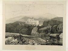 Lithographie Taylor & Nodier, Auvergne,Vue de Chanteuge