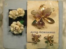 VTG Elsie Krassas Orchid Brooch Earrings & Seashell Petal Rose Brooch Earrings