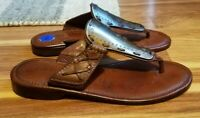 Cole Haan Tan Leather Slip-on Sandals Toe Strap & +Metal for Women, Size 6.5 M