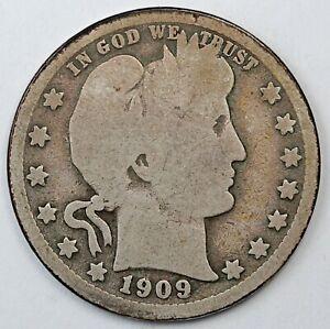 1909-O United States Barber Head Quarter - G Good Condition