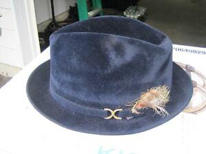 Vintage CAVANAGH fedora men's hat 7 1/4 navy blue