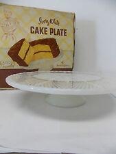 VTG Anchorglass Ivory White Pedestal Cake Plate 22K Gold Decor in Original Box