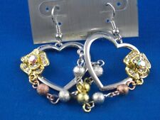 Ohrringe  Ohrhänger Tricolor Silbernes Herz goldene Blüte und Kupfer Kugel