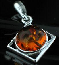 Sterling Silver Square Baltic Amber Set Pendant .925 Boho, hippy