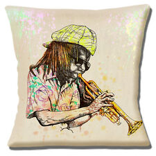 "Vintage Retro Jazz Rasta Musician Trumpet Player Music 16"" Pillow Cushion Cover"