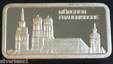 MUNCHEN FRAUENKIRCHE ~DEGUSSA MINT ~FEINSILBER .999 SILVER BAR ~MADE IN GERMANY