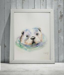 New large signed original certificated watercolour art painting of an Otter