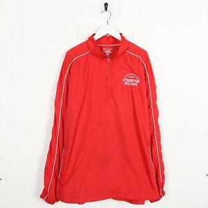 Vintage CHAMPION Small Logo 1/4 Zip Soft Shell Windbreaker Jacket Red | 2XL