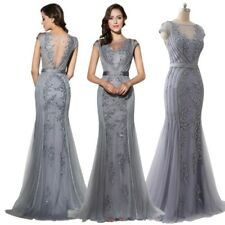 Grey Women Long Party Mermaid Wedding Gown Beads Formal Red Carpet Evening Dress