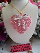 BETSEY JOHNSON SPARKLING PINK HEART BOWTIE LONG CHAIN  PENDANT NECKLACE