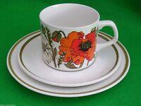 J & G MEAKIN 'Poppy' Tea/Coffee Cup Saucer & Plate Set Trio True Vintage 1970s