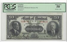 *1923*Bank of Montreal $10 Note Wil/Mer Cat#56-04 SN# 3196170 PCGS AU-50