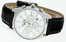 Gooix GX 01139 004 Herrenuhr Chronograph Farbe silber Lederband Datum 5ATM NEU