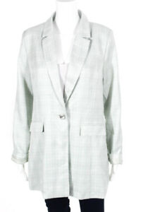 Chriselle Women's One Button Notched Collar Blazer Green Size Extra Large