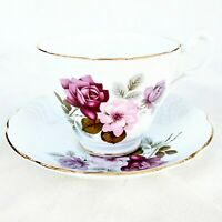 Vintage Royal Ascot England Tea Cup & Saucer Set Hand Painted Purple Pink Roses
