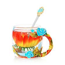 Enamel Glass Rose Flower Tea Coffee Cup Set Spoon Beer Mug Mothers day Gift