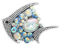 Silver Opal Ocean Sea Fish 20mm Snap Charm Button For Ginger Snaps Jewelry