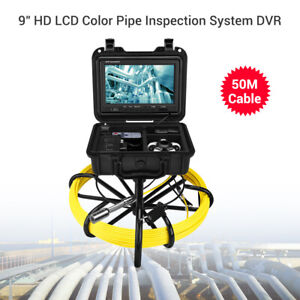 """50M 9"""" Drain Pipeline Endoscope Industrial Sewer Inspection Camera 8GB cable Use"""
