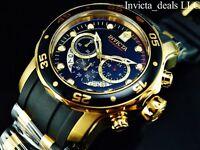 Invicta Mens 48mm Pro Diver Scuba Chronograph Black Dial 18K Gold IP SS Watch