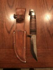 Vintage Western USA L66 skinning knife in original leather sheath pre 1977