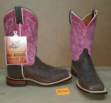 Womens Size 9 C JUSTIN Chocolate Brown with Pink BRL330 Cowboy Boots Square Toe