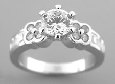 Round And Baguette Cut Size 8 New Sterling Silver Cz Engagement Ring