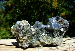 Quartz on Galena Crystal Cluster Display Specimen Collected from Bulgaria