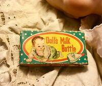 Vintage Doll Baby In Box Milk Glass Bottle