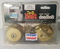 DO IT BEST HARDWARE Single Cylinder Deadbolt - Polished Brass - NEW OLD STOCK