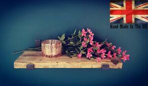 Rustic Scaffold Board Shelf Brackets Heavy Duty Handmade Industrial Raw Steel