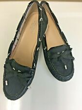 16e5701b3b0 COACH Carisa Black Loafers Slip On Flats Boat Shoes Size 7.5 Logo Print