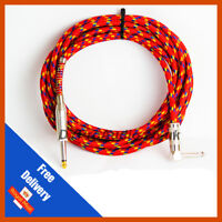 Pulse Guitar Lead straight to Right Angle Jack Red Cloth Design Braided Cable 5m