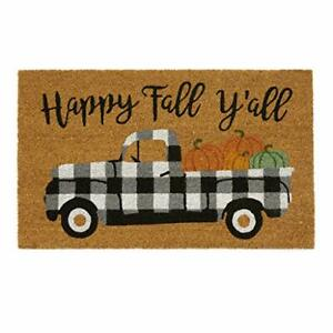 Elrene Home Fashions Farmhouse Living Happy Fall Y'all Outdoor Coir Doormat f...