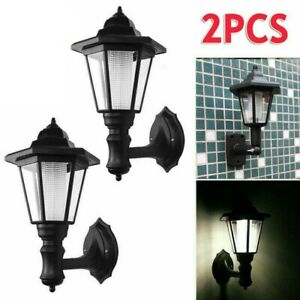 2PCS Outdoor Garden Fence Wall Lantern Hexagonal Light Lamp Solar Powered LED UK