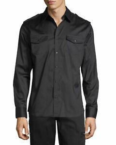 NWT Karl Lagerfeld Paris Military Studded Dress Shirt Size Small Black