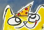 """Original ACEO Cat Painting """"Yum Pizza Face"""" Miniature Art By Samantha McLean"""