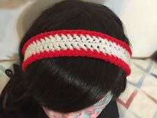 White & Red Ladies Crochet Headband Hairband Hair Accessory