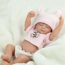 "10"" Reborn Baby Dolls Girl Lifelike Handmade Vinyl Silicone Eyes Closed【US】Cheap"