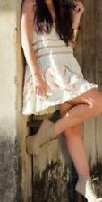 FREE PEOPLE MS SIZE LARGE TEA COMBO VOILE AND LACE TRAPEZE SLIP DRESS