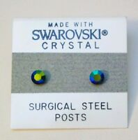 Blue Round Stud Earrings 4mm Shimmer Crystal Circle Made with Swarovski Elements