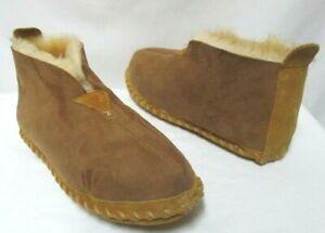 LL Bean Wicked Good Moccasin Slippers Suede Men shearling lined NEW Size Sz 10