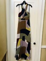 BCBG MAX AZRIA HALTER COLOR BLOCK PLEATED LONG DRESS GOWN NWT SIZE 12 $468.00
