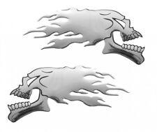 PILOT 3D Emblem in Chrom-Optik Flammen Totenkopf