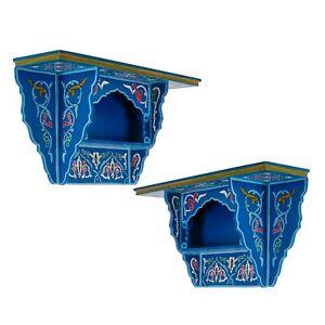 Set of 2 Painted Floating Shelves , Wall Shelves Moroccan shelf Vintage Blue