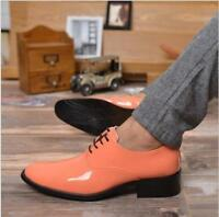 Mens point toe casual Lace Up Cuban Heel Dress Formal Wedding PU Leather Shoes