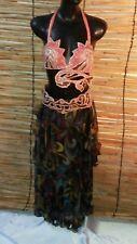 3 Pieces Egyptian Belly Dance Costume bra Belt Skirt Set Orange Pro Dancing