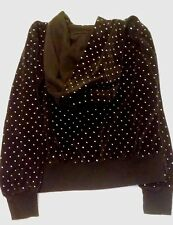 Total Girl Hooded Sweatshirt Jacket Size Small 7- 8 Black Sparkly Zipper